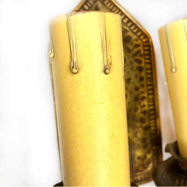 Antique Arts & Crafts Hammered Brass Double Light Wall Sconce For Sale - Image 4 of 12