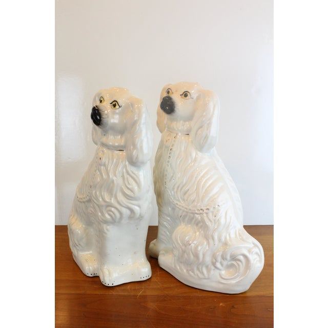 Vintage White Staffordshire Dog Figurines - a Pair For Sale In New York - Image 6 of 8