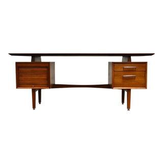 Walnut Modern Executive Desk For Sale