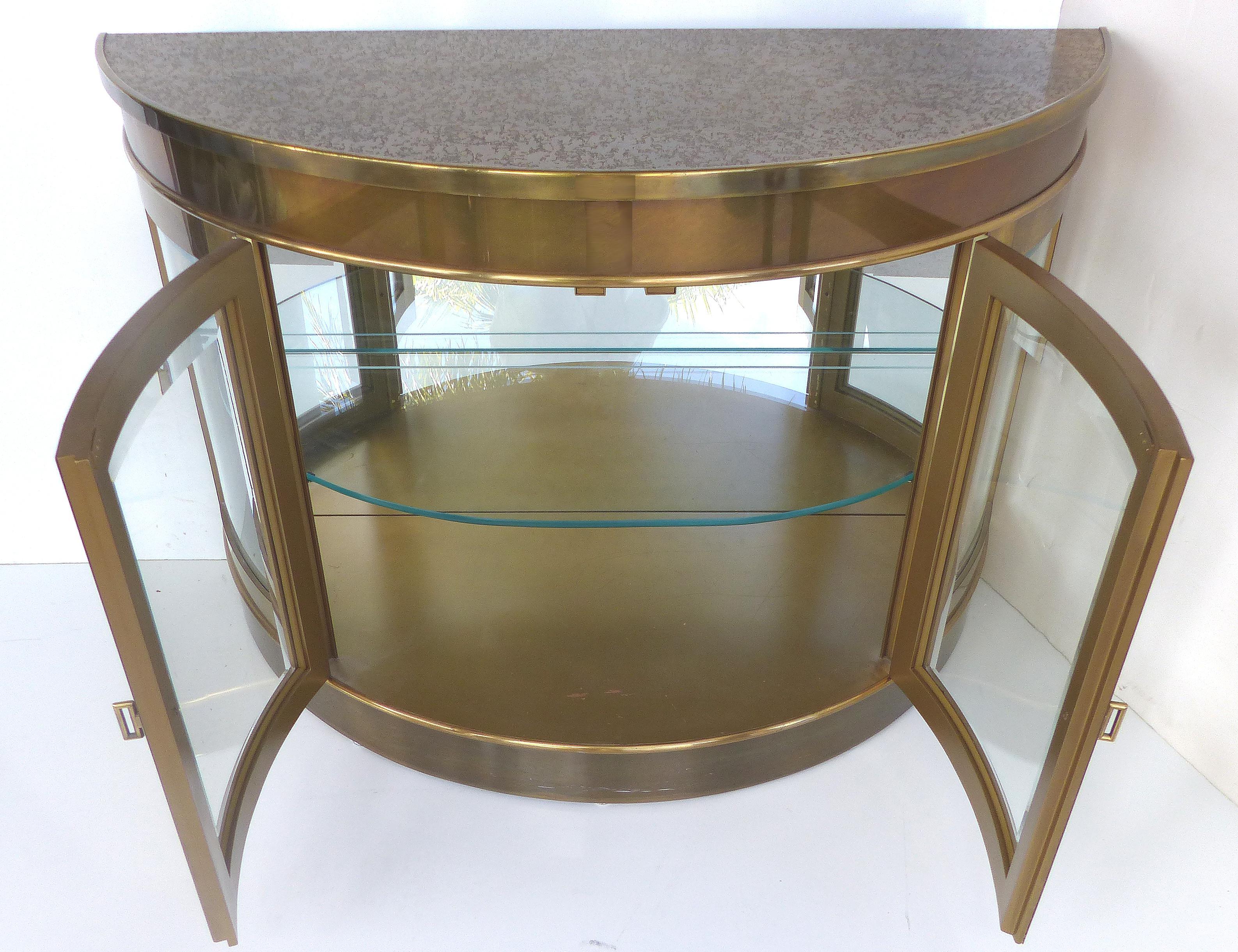 Mastercraft Mid Century Brass Demilune Cabinet   Image 3 Of 11