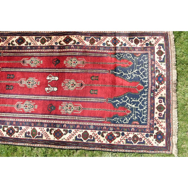 Turkish Vintage Oriental Design Red-Blue Color Carpet - 4x8.5 For Sale In Sacramento - Image 6 of 12
