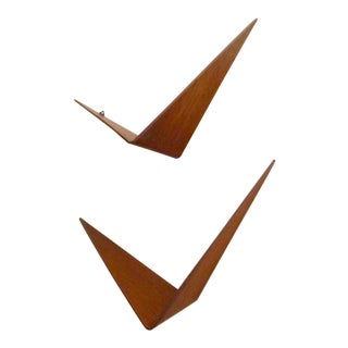 Poul Cadovius Cado Butterfly Teak Wood Shelves - Set of 2 For Sale