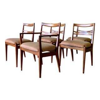 Walnut Mid Century Modern Dining Chairs, Kipp Stewart for Drexel, Set of Five For Sale