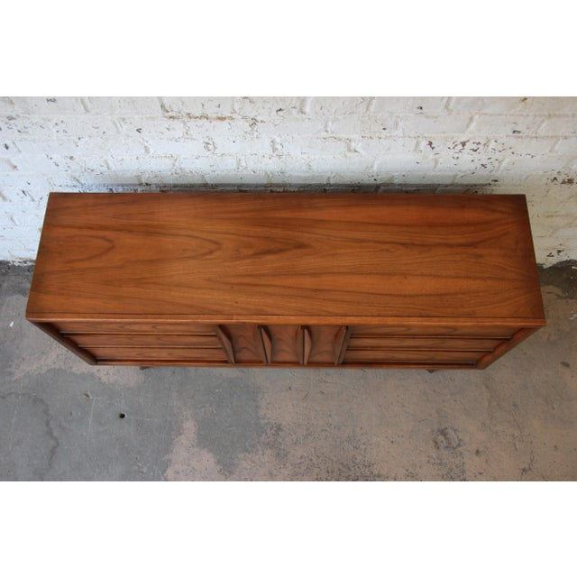 Brown United Mid-Century Sculpted Front Walnut Long Dresser For Sale - Image 8 of 10