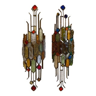 Pair of Hammered Glass Wrought Iron by Longobard. Italy, 1970s For Sale