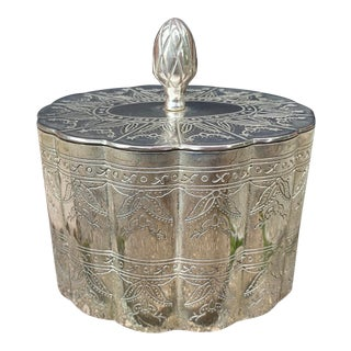 1970s Vintage Silver Plate Engraved Lidded Box For Sale