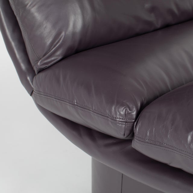 Eggplant Leather Scoop Chairs on Swivel Bases, Circa 1980s For Sale - Image 12 of 13