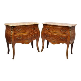 20th Century Louis XV Style Pink Marble Top Inlaid Bombe Commode Chests - a Pair For Sale