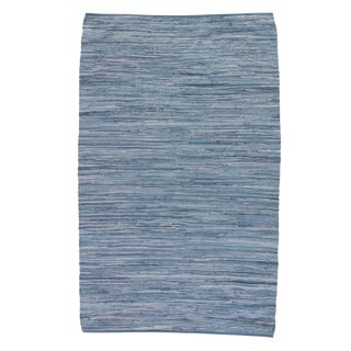 Jaipur Living Raggedy Handmade Solid Blue Area Rug - 5′ × 8′ For Sale