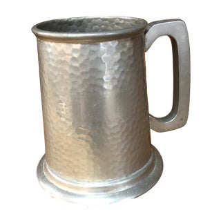 Mid-Century Sheffield English Hammered Pewter Tankard For Sale