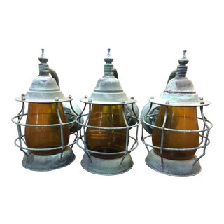 1920's Outdoor/Indoor Copper Wall Lanterns - Set of Three For Sale