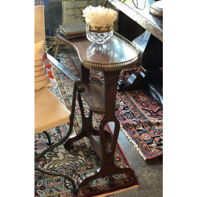 Wood Mahogany Kidney Shaped Tables With Reticulated Brass Edge - a Pair For Sale - Image 7 of 10