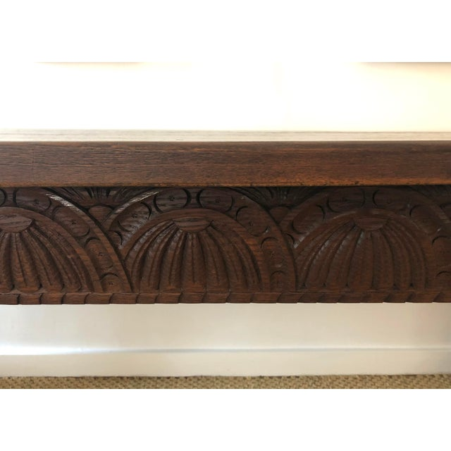 Jacobean Style Carved Oak Refectory Table For Sale In Boston - Image 6 of 13