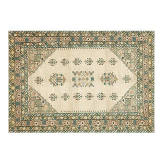 1960s Turkish Anatolian Yellow/Beige Area Rug-7'2'' X 10'2'' For Sale