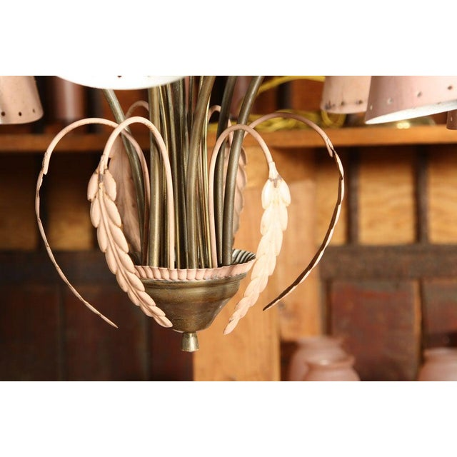 Mid-Century Modern Brass and Pink Painted Metal Chandelier For Sale - Image 4 of 8