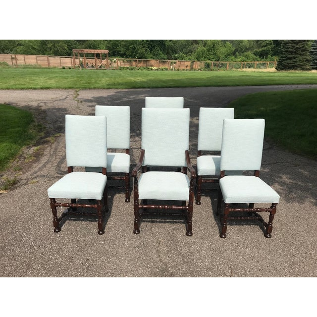 White Upholstered Baroque Walnut Dining Chairs - Set of 6 For Sale - Image 12 of 12
