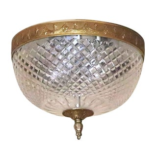 Waldorf Cut Crystal Brass Flush Mount Light For Sale