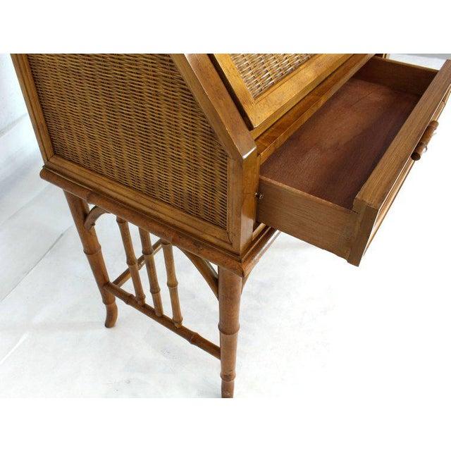 1970s Mid-Century Modern Faux Bamboo Rattan Light Fruitwood Finish Secretary Desk For Sale - Image 11 of 14