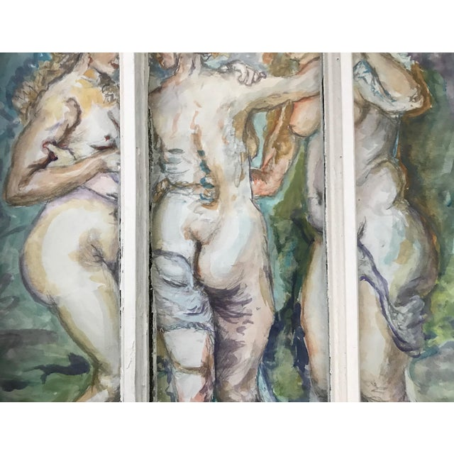 'The Three Graces' Original Watercolor Painted Framed Windows - Set of 3 For Sale - Image 12 of 13