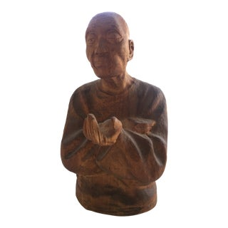 1940s Vintage James Mont Style Hand Carved Monk / Scholar Sculpture For Sale