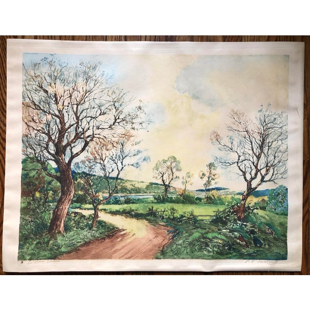 Aquatint French Countryside Print by Paul Lecomte For Sale - Image 7 of 7