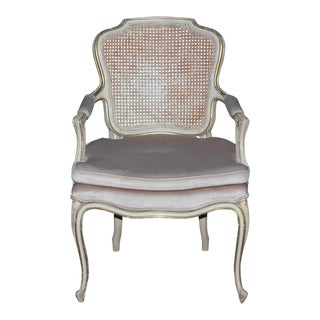 Vintage Louis XV Style Caned Back Carved Side Chair