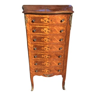Italian Inlaid Semainier Lingerie Chest With Ormolu Accents For Sale