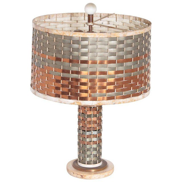 Machine Age Art Deco Sandel Table Lamp, Mixed Metal, Lacquered Wood For Sale - Image 11 of 11