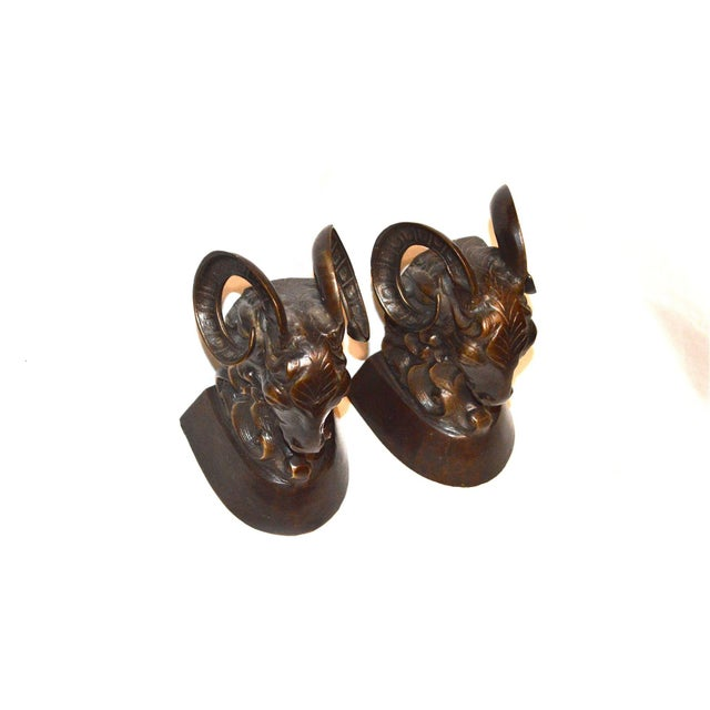 Vintage Bronze Ram Bookends - A Pair For Sale - Image 5 of 11