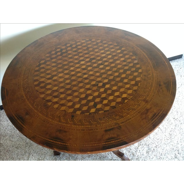 Intricately Detailed Parquet Antique Round Table - Image 3 of 11