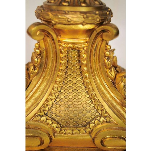 Bronze 19th Century Figural French Louis XV Style Gilt Bronze Lion Candelabra Table Lamp For Sale - Image 8 of 11