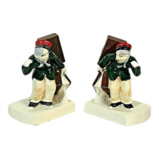 Antique Novelty Bookends Bell Hops With Luggage - a Pair For Sale