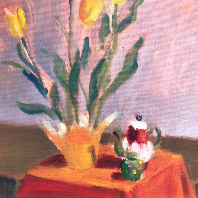 Contemporary still life painting of a table top with Tulips and a Tea Pot. Oil on canvas, presented in a gilt wood frame....