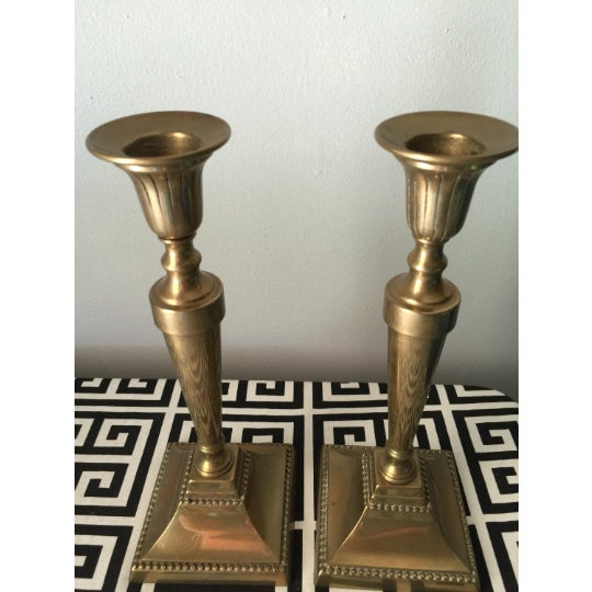 Brass Candlestick Holders - a Pair For Sale In Atlanta - Image 6 of 6