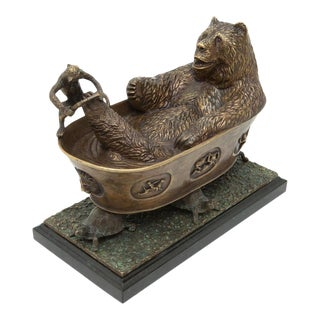 Scarborough House Bathing Bear & Monkey Statue For Sale
