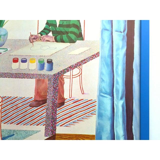 "David Hockney Vintage 1977 Lithograph Print Framed Pop Art Exhibition Poster "" Self Portrait With Blue Guitar "" For Sale - Image 9 of 13"