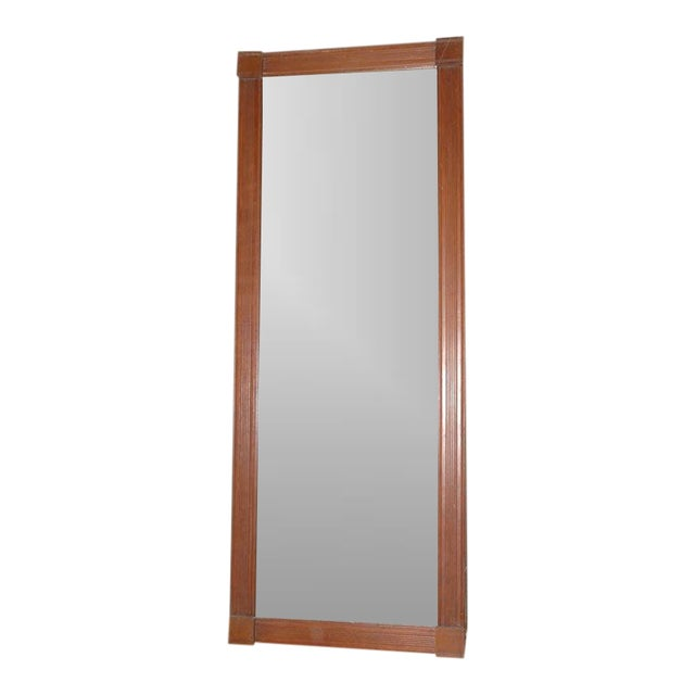 19th Century. Large Floor/Wall Walnut Natural Floor Mirror For Sale