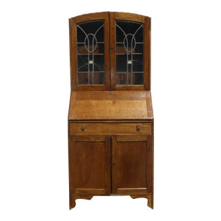 Antique Oak French Country Hutch Storage Curio Cabinet With Desk