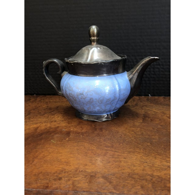Illustration Victorian Kerman Blue & Silver Tea and Coffee - Set of 18 For Sale - Image 3 of 10