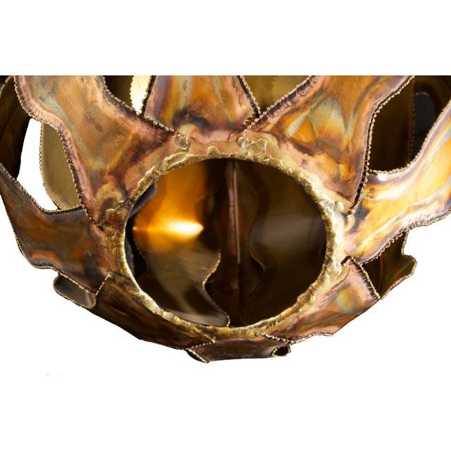 1970s Brutalist Burnished Metal Pendant Light - Image 3 of 6