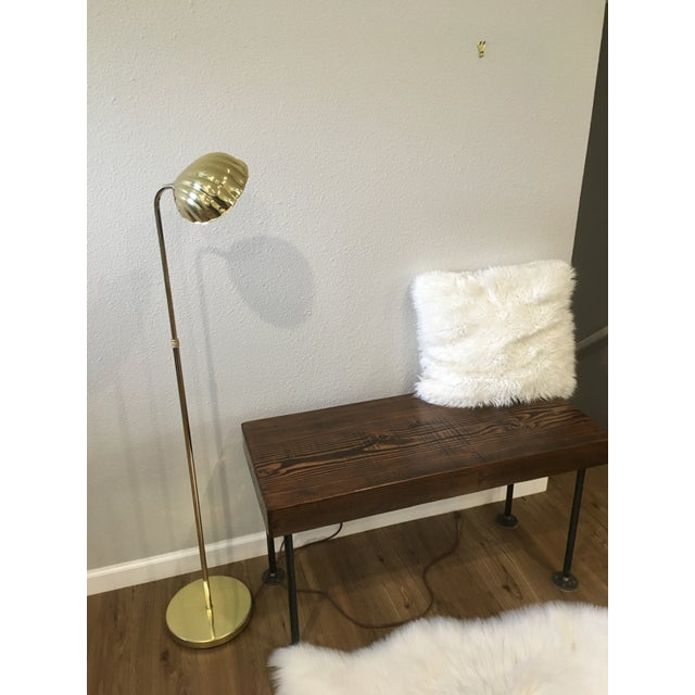 """Mid-Century Alsy Brass Shell Floor Lamp. Sits 50""""H. Base is 10"""" W. Shell shade is 7"""" W and can be rotated to direct light."""
