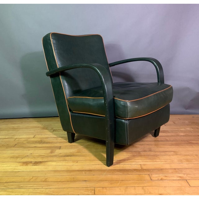 Pair Baxter Italia Green Leather Armchairs, 1990 For Sale - Image 4 of 11