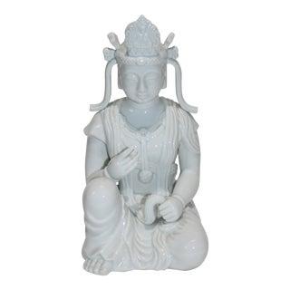 Vintage Fitz & Floyd White Seated Buddha Figurine Glazed Porcelain For Sale