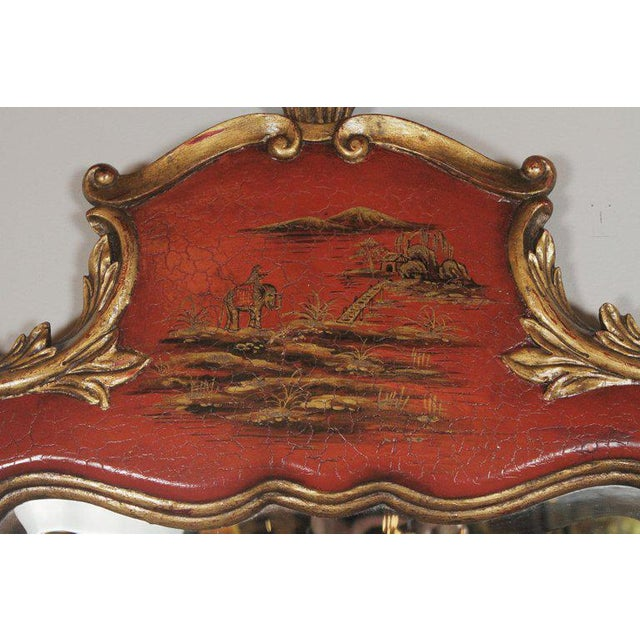 Asian Theodore Alexander Chinoiserie Red Lacquer and Gold Painted Mirror For Sale - Image 3 of 11