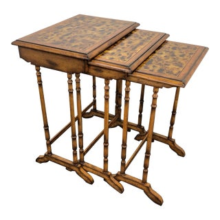 Maitland Smith Faux Bamboo Nesting Tables - Set of 3 For Sale