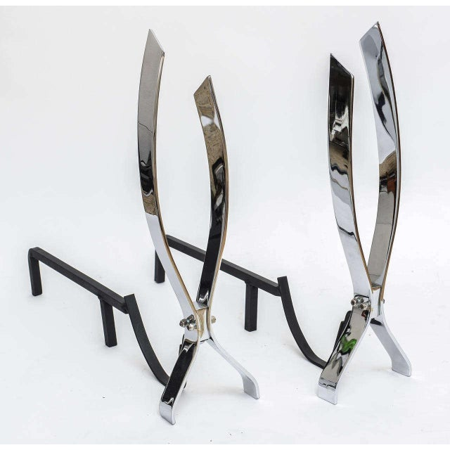 Modern Modern Nickel-Plated Andirons Flame Motif For Sale - Image 3 of 11