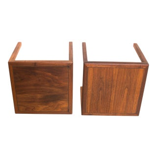 Pair of Walnut Side Tables After Baker Mid Century Modern For Sale