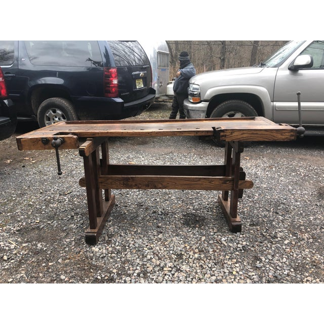 Vintage Hand Made Vermont Large Oak Work Table Console Bar For Sale - Image 11 of 13