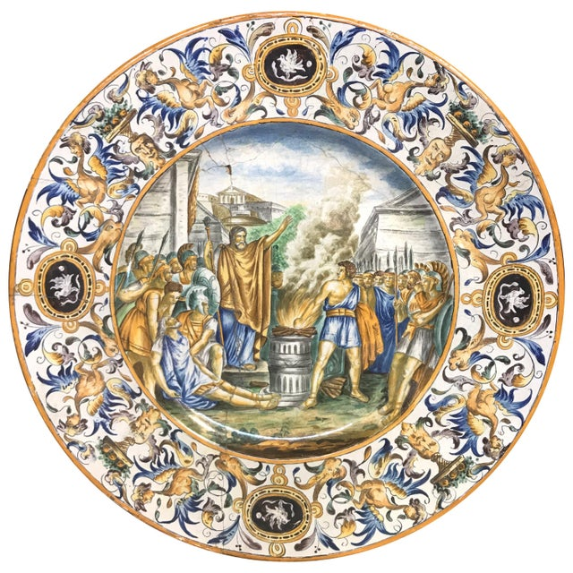 Large 19th Century Italian Faience Charger For Sale - Image 10 of 10