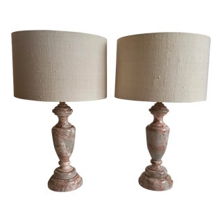 Vintage Vasiform Cream & Pink Marble Lamps With Shades - a Pair For Sale